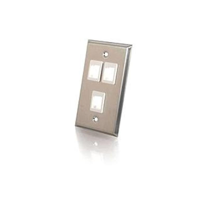 C2g 3-port Single Gang Multimedia Keystone Wall Plate - Stainless Steel - 3 X Socket(s) - 1-gang