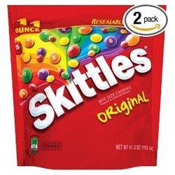 Marjack Skittles Original Fruit Chews Candy - Orange, Lime, Lemon, Grape, Strawberry - Resealable Zipper - 2.56 lb - 6 / Bag