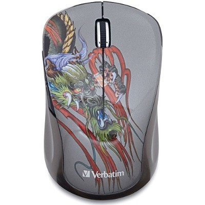 Verbatim 98612 Wireless Notebook Multi-trac Blue Led Mouse Tattoo Series - Dragon - Mouse - 5 Buttons - Wireless - 2.4 Ghz - Usb Wireless Receiver - Dragon