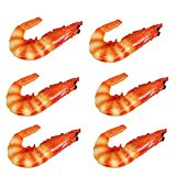 Transcend11 Pack of 6 Fake Cooked Shrimp Artificial Crayfish Raw Lobster Seafood Model for Kitchen Home Party Christmas Halloween Decoration Market Food Sample Display Kids Toy