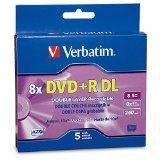 Verbatim DVD R DL AZO 8.5 GB 8x-10x Branded Double Layer Recordable Disc, 5-Disc Slim Case 95311