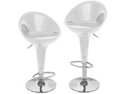Set Of 4 Beta Contemporary Bombo Style Adjustable Barstool - Silver Spoon