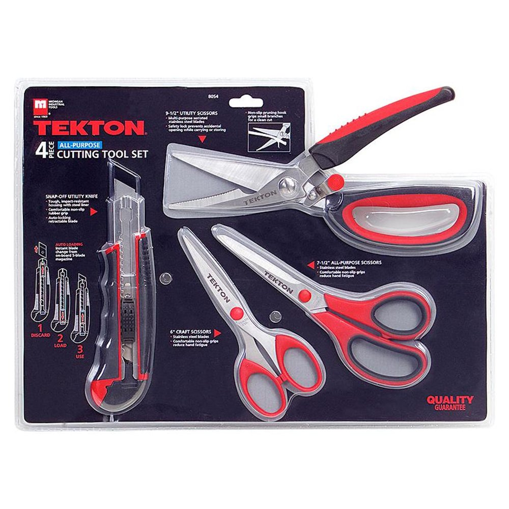 TEKTON 4-Pc. Scissors and Snap-Off Knife Set