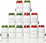 Novel Wedding Party Insulating Can Covers - Set of 12 Koozies Printed with Titles of Most Distinguished Wedding Attendees
