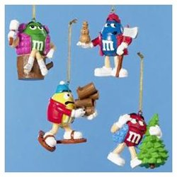 Club Pack of 12 Artificial M&M Candy Camping Christmas Ornaments 3.5