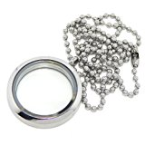 Jewelry Monster Hypoallergenic Stainless Steel Round Floating Charm Locket with Bamboo Chain