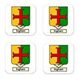 Ingham Family Crest Square Coasters Coat of Arms Coasters - Set of 4