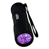 HQRP 365 nM 9 UV LED Ultraviolet Inspection / Detection / Identification Flashlight Blacklight for Document / Forgery Analysis, Currency / Bill Verification   HQRP UV Meter