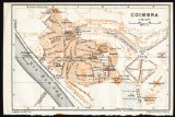 Antique Map-PORTUGAL-PLAN OF COIMBRA-Karl Baedeker-1913