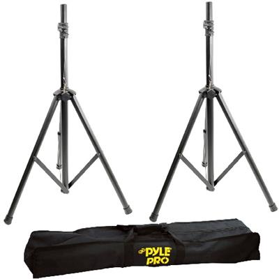 Pyle Pstk103 Pstk103 Heavy-duty Aluminum Anodizing Dual Speaker Stand With Traveling Bag Kit