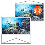 JaeilPLM 100-Inch 2-in-1 Portable Projector Screen   Outdoor & Indoor Compatible   Instant Wrinkle-Free   with Triangle Stand or Hanging Design Movie Projection for Home Theater, Gaming, Office