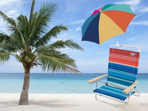 Set of Rio High Back Beach Chair (5 position LayFlat) Model #1201 & 4 inch clamp-on chair umbrella