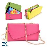 Universal PU Leather Women's Phone Wallet Purse fits ZTE Engage Case - PINK, YELLOW & GREEN. Bonus Ekatomi Screen Cleaner