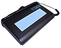 SignatureGem LCD 4.40 x 1.30 inches includes all the high quality capture features of a Topaz electronic signature pad with the added feature of an LCD interactive display, allowing users to see electronic ink under the pen tip as they sign as well as navigate and display text and graphics