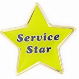 PinMart's Service Star Yellow and Blue Customer Service Lapel Pin