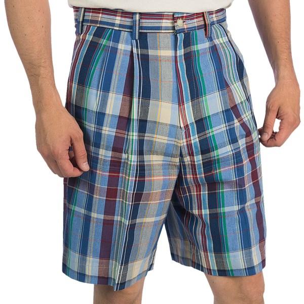 Berle Madras Plaid Shorts - Double-Reverse Pleats (For Men)