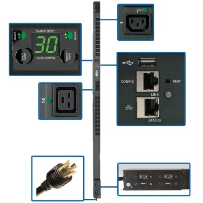 Tripplite Pdumvr30hvnetlx 5/5.8kw Single-phase Switched Pdu  Outlet Monitoring  208/240v Outlets (20 C13 & 4 C19)  0u  Lx Platform Interface  Taa