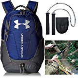 Under Armour UA Hustle 3.0 Backpack   Free Camping Pocket Chain Saw (Royal Blue/Graphite)