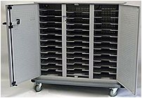 The Datamation Systems DS SHC 36 C SafeHarbor Cart is capable to store, secure and recharge up to 36 notebook PCs