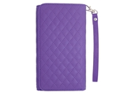 For Lg Lucid 3 Purple Quilted Faux Leather Pouch Case Cover