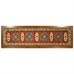 Persian Super Kazak Medallion Red 3' X 10' Hand Knotted Wool Oriental Rug H5220