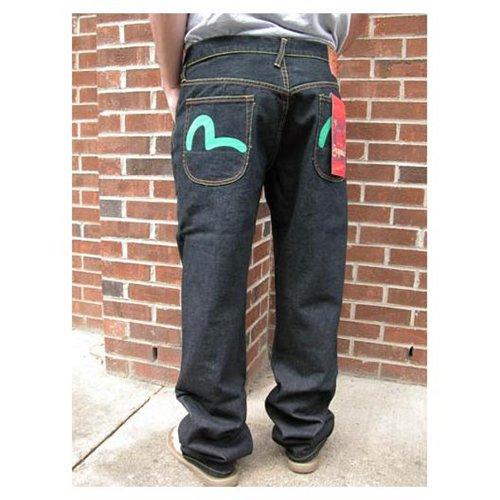 Men's Evisu Genes Brand Dark-Wash Jeans w/Pocket Detail