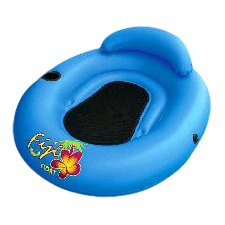 """AIRHEAD ® FIJI FLOAT ™ by KWIK TEK ™ Stay cool floating in a pool or lake, sitting on a comfortable mesh seat. Molded drink holder. Tether it to your boat or tie 2 or more floats together using the side mounted rope anchors. Durable vinyl construction with RF welded seams. Dimensions: 48""""x43"""" (deflated). COLOR: Blue/Black MFG# AHFF-1 AHFF1 UPC# 737826022472"""