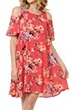 Upparel Women's Open Shoulder Floral Print Chiffon Casual Dress -Made in USA (X-Large, Cold Shoulder- Vermis Red)