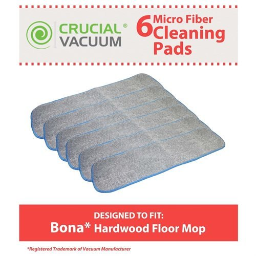 6 Bona Hardwood Floor Micro Fiber Cleaning Pad Designed To Fit Bona Hardwood Floor Mops, 15in Mohawk, Bona, Orange Glow and Ecolab's, Shaw, Bruce, Squeaky, Mercier, Kahrs and M&Y;Part # AX0003053; Designed & Engineered By Crucial Vacuum