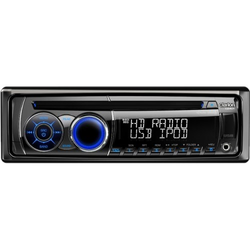 Clarion CZ401 Car CD/MP3 Player - 72 W RMS - iPod/iPhone Compatible - Single DIN - LCD Display - CD-RW - MP3, WMA, CD-DA - AM, FM - 18, 6 x FM, AM Preset - HD Radio - USB - Auxiliary Input - Detachable Front Panel