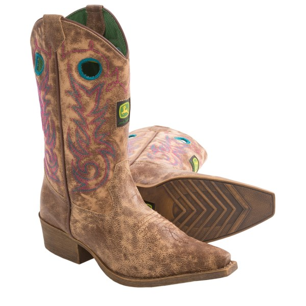 John Deere Footwear Distressed Cowboy Boots - Snip Toe (For Youth Boys and Girls)