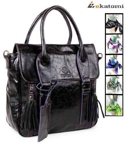 Black and Purple Violet Cross Body Purse Bag for 7 inch tablets Coby Kyros, MID7015, 1080p, TFDVD7751. Includes a gift! Complimentary short scarf *color&style varies*