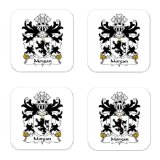Morgan Arxton Hereford Formerly Of Llanddewi Family Crest Square Coasters Coat of Arms Coasters - Set of 4