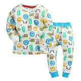 Chic Gal Baby and Little Boys' 2 Piece Printed Cotton Thermal Pajama Set (4T, White)