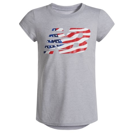 American Flag Logo Graphic T-shirt - Short Sleeve (for Big Girls)