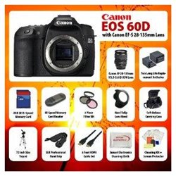 Canon EOS 60D 18 MP CMOS Digital SLR Camera with Canon EF-S 28-135mm Lens   8GB Accessory Kit Includes 3 Piece Professional filter Kit, Deluxe Soft Carrying Case, Canon LP-E6 Battery, 72 Tripod, Camera Hand Strap, HDMI Cables, Lens Hood   More