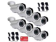 """VideoSecu 8 Pack Outdoor Weatherproof Indoor Security Camera IR Day Night Vision Built-in 1/3 inch Sony CCD Effio 700TVL 4 - 9mm Varifocal 42 LEDs with 8 Power Supply for CCTV Surveillance CMP Color: White Camera Type: Day/Night Camera Type: Infrared Camera Sensor: built-in 1/3"""" SONY Effio CCD Lens Type: 4 - 9mm Varifocal Night Vision: Yes Power: DC 12V Features: • Color pictures in daytime / black & white pictures in low light conditions • Cable management design: concealed wiring inside of bracket to protect the camera from vandalism • Weather resistance: IP66 certification for protection against dust and harsh environment • Weatherproof housing for indoor or outdoor installations • Can be mounted on ceiling or wall"""