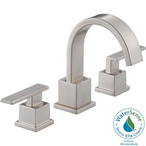 Delta 3553LF-SS Vero 8 in. Widespread 2-Handle High-Arc Bathroom Faucet in Stainless