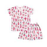 OllCHAENGi Toddler Kids Boys Girls Cotton Pajama Set Short Sleeve 2T-13Y Carrot (100(2T-3T))
