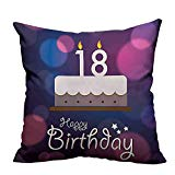 YouXianHome Home DecorCushion Covers Cartoon Birthday Party Cake with Candles Abstract Backdrop Purple and Lilac Comfortable and Breathable(Double-Sided Printing) 17.5x17.5 inch