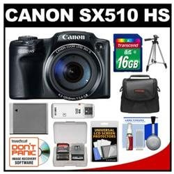 Canon PowerShot SX510 HS Digital Camera (Black) with 16GB Card   Case   Battery   Tripod   Accessory Kit