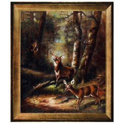 Art Reproduction Oil Painting - The Forest - Adirondacks with Athenian Gold Frame - Antique Gold Finish - Eco Friendly - 25 X 29 - Hand Painted Framed Canvas Art