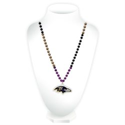 Baltimore Ravens Official NFL Mardi Gras Beads with Medallion by Rico Industries 544003