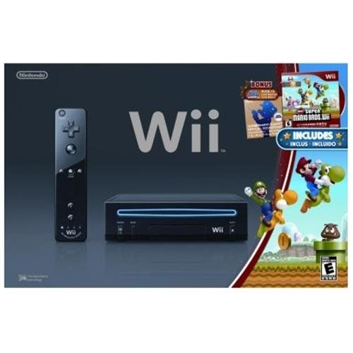 Wii Console (Black) With New Super Mario Bros.