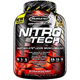 MuscleTech NitroTech Protein Powder, 100% Whey Protein with Whey Isolate, Strawberry, 4 Pound
