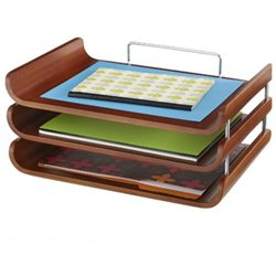 Safco Bamboo Triple Tray - 7 Height x 10.5 Width x 14.8 Depth - 3 Tier(s) - Bamboo - Cherry