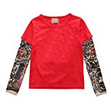 Boys Cotton Long-Sleeved T-Shirt Novelty Hip-Hop Tattoo Sleeve