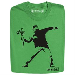 Stabilitees Banksy Stencil Street Art The Flower Thrower, Mens T Shirts