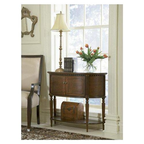 Entryway Console Sofa Table with Bowed Front in Warm Cherry Finish
