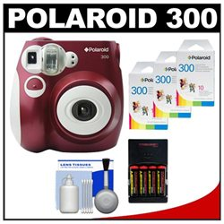 Polaroid PIC-300R Instant Film Analog Camera (Red) with (3) Polaroid Instant Film Pack of 10   Batteries & Charger   Cleaning Kit